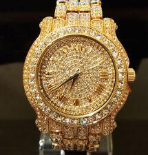 Men Hip Hop Fully PaveBezel Gold Plated Rapper;s Metal Band CZ Luxury Watch