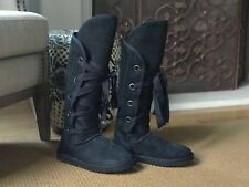 Ugg Alternative Love From Australia Shearling Sheepskin tall boot lace up sz 10