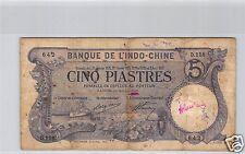 Bank- des'Indochina Saigon 5 Piaster 28 Oktober 1916 D.158 Nr. 642 Pick 37b