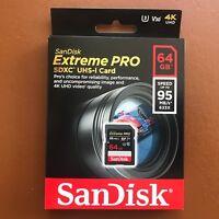 NEW SanDisk 64GB Extreme Pro SDXC Memory Card UHS-I V30 SD 95MB/s U3 633x 4K UHD