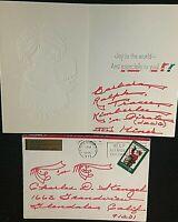 YANKEES METS CASEY STENGEL RARE ORIG. 1972 XMAS CARD FROM RALPH KINER W/ENVELOPE