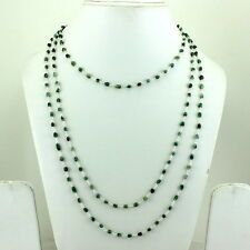 NATURAL EMERALD BEADED GEMSTONE NECKLACE 16 GRAM 3 MM 925 STERLING SILVER