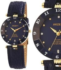 Damen Armbanduhr Blau/Gold Cutglas Strass Kunstleder-Armband 3 ATM von AKZENT