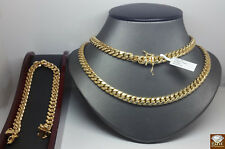 8.5mm Real 10k Yellow Gold Miami Cuban Chain & Bracelet,Strong,Rope,cube n,10kt N