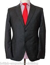Bnwt Holland ESQUIRE dk grey flannel DBL fines rayures costume + h.esq Costume transporteur UK40