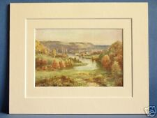 RIVER LIFFEY AT PALMERSTON LEINSTER IRELAND VINTAGE DOUBLE MOUNTED PRINT  c1920