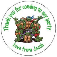 70 Personalised TMNT Teenage Ninja Turtles Birthday Stickers Party Bag Thank 116