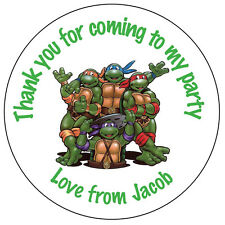 70 Tortugas Ninjas Adolescentes TMNT personalizada Cumpleaños Pegatinas gracias Bolsa Fiesta 116