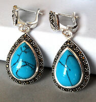 Pretty girl JEWELRY Marcasite 925 STERLING SILVER DROP BLUE TURQUOISE EARRINGS