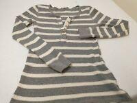J. Crew Women's Top Size Small Gray White Striped 1/4 Button Long Sleeve Shirt