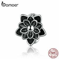 BAMOER DIY Charm Bead 925 Sterling silver Lotus Fit Bracelet Accessories Jewelry