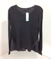 CENTRAL PARK WEST WOMEN'S TIMOTHY MIXED MATERIAL PULLOVER DARK GRAY SM NWT