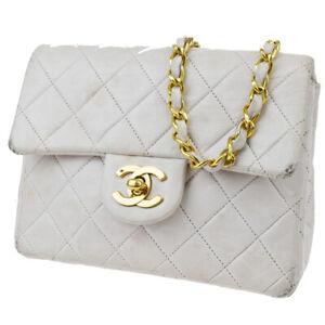 Auth CHANEL CC Matelasse Mini Chain Shoulder Bag Leather White France 675JC328
