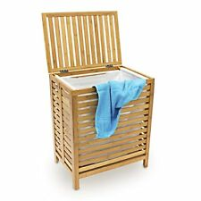 Relaxdays Panier À linge Corbeille Bambou coffre bois Sac Rangement HxLxP 60x