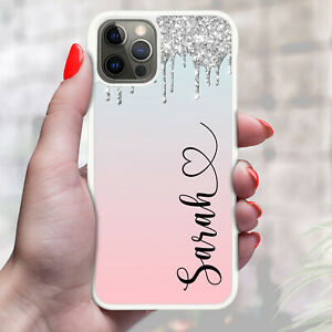 Personalised Marble OMBRE Phone Case Cover For Apple Samsung Initial Name - 17