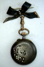 Antique Victorian Sterling Silver Hanging Watch w/ Bow Pin Brooch Repair #YY521