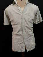 Ben Sherman Short Sleeve Shirt - Size L - Beige & Blue - Diamonds