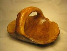 *stress cracks *natural wooden wood basket handled bowl carved  CON