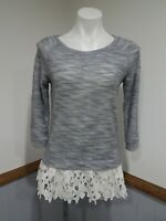 PRETTY!💜Ezra Anthropologie Women's Small Gray Lace Trim Tunic Sweater Shirt Top