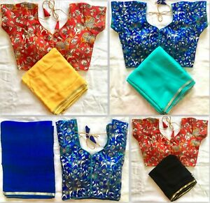 Saree Indian Ethnic Wear Designer Georgette Bollywood Saree Stitched Blouse SR