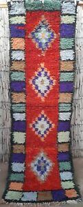 Vintage moroccan wool boucherouite runner rug  212 x 69 cm