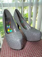 Women's Size 10 Silver Crystal Platform Shoes Heels