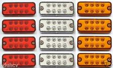 12x 12V 8 LED Side Marker Red Amber White Indicator Lights Truck Trailer Caravan