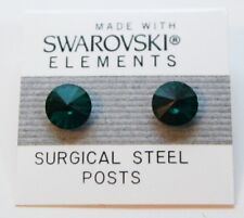 Green Round Circle Stud Earrings 8mm Crystal Made with Swarovski Elements