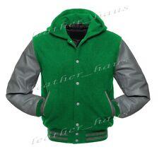 Genuine Leather Sleeve Letterman College Varsity Wool Jackets Hoodie #LGY-SL-LGY