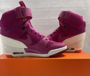 Nike Air Revolution Sky HI Shoes Magenta Wedge 599410-501 Women's SZ 7 New!!!