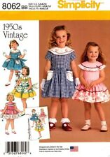 Simplicity Sewing Pattern 8062 Childs Dress Girls Vintage Dress Sizes 4-8 NEW