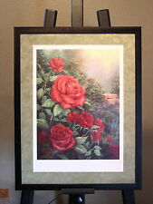 """Thomas Kinkade ~ PERFECT RED ROSE ~ Framed &  Matted ~ Lithograph 16""""x12"""" ~ COA"""