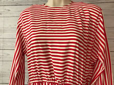 California Girl Dorothy Samuel Red White Stripe Shirt Dress Zip Closure Size 12