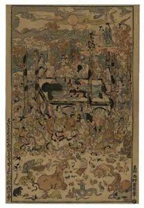 JAPANESE WOODCUT- NISHIMURA SHIGENAGA -DEATH OF BUDDHA -VINTAGE HELIOTYPE-1924