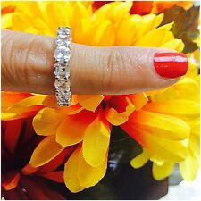 Platinum Sterling Silver White Sapphire Emerald Cut Ring Wedding Band Size 8