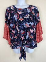 Roz & Ali Womens Plus Size 2X Blue Floral Tie Front Blouse 3/4 Flowy Bell Sleeve