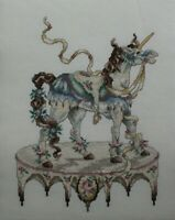 Carousel Horse on Platform Ribbons Flowers Cross Stitch Completed Finished