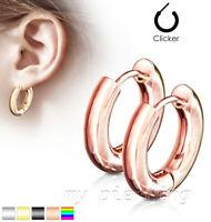 PAIR of 316L Stainless Steel Hinge Action Hoop Men & Women Earrings 20G