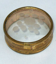 Ancienne boite à mouches circulaire / pilules epoque fin XVIIIe verre gravé