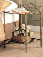 ANTIQUE BRUSH GOLD FINISH METAL AND GLASS END TABLE