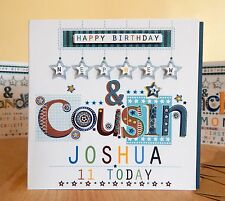 Nephew & Cousin Birthday card Personalised named BOY MALE card. NEPHEW COUSIN