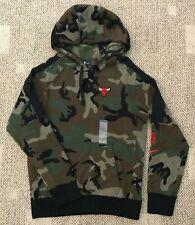 Nike Mens French Terry Hoodie Sweatshirt Green Camo Size 2XL NBA Chicago Bulls