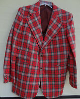 NWT Vintage 60s 70s MEN'S RED WOOL PLAID SPORT COAT Suit Jacket Blazer Size 42