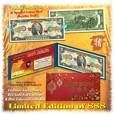 24KT GOLD 2019 Chinese Lunar New Year YEAR OF THE PIG Genuine US $2 BILL LTD 888