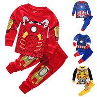 2pcs Boys Toddler Kids Superhero Outfits Set Pajamas Sleepwear Pyjamas Nightwear