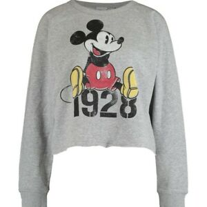 DISNEY  Grey Cropped Retro Mickey Mouse Graphic Sweatshirt Size S RRP £45.00