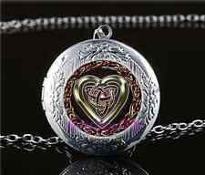 Celtic Heart Photo Cabochon Glass Tibet Silver Chain Locket Pendant Necklace