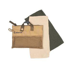 "GEAR AID Micro-Terry Washcloth Kit for Travel, 2 Cloths 10""x10"", OD Green & Sand"