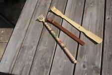 3 Back Scratchers, 2 Carved Wooden 1 Moulded