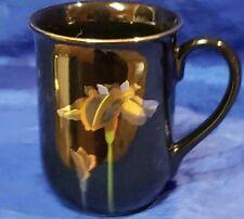 Vintage Otagiri Handpainted In Japan BLUE IRIS Coffee Cup Mug Black Gold Detail